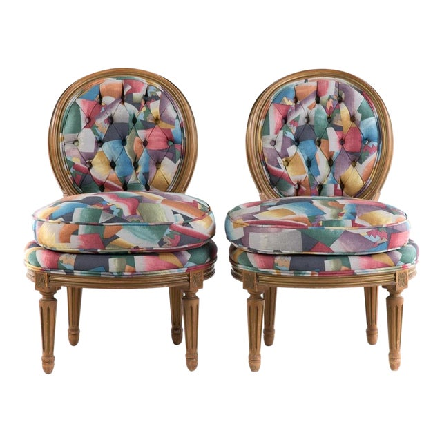 Pair of Louis XVI Style Vintage Slipper Chairs For Sale