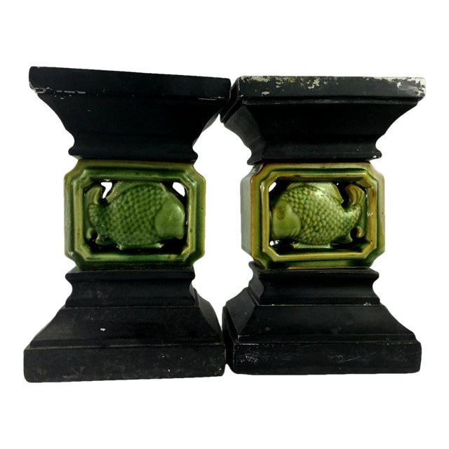 Vintage Ceramic Balustrade Architectural Salvage - a Pair - Image 1 of 11