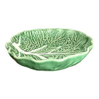 "8.5"" Vintage Dark Green Majolica Cabbage Leaf Ceramic Bowl - Made in Portugal For Sale"