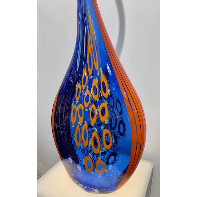 Dona Modern Art Glass Blue and Orange Sculpture Vase With Red and Yellow Murrine For Sale - Image 9 of 12