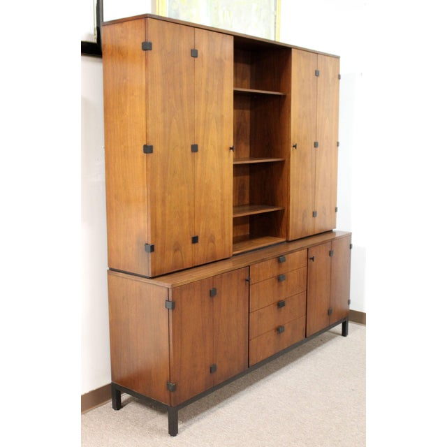 For your consideration is an incredible, walnut credenza and removable hutch, by Merton Gershun for Dillingham, circa the...