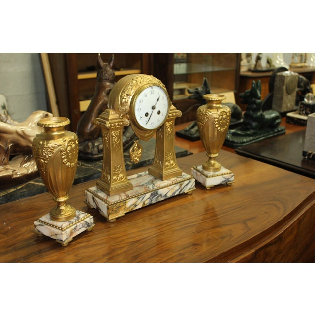 Art Deco 1940s French Art Deco Gilt Clock Garniture Set Signed G. Limousin - 3 Pc. Set For Sale - Image 3 of 11