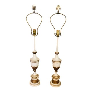 Vintage White Metal and Brass Lamps For Sale
