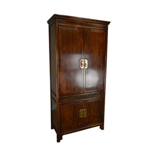 Henredon Villa Borghese Collection Asian Inspired Mahogany Tall Armoire Cabinet For Sale