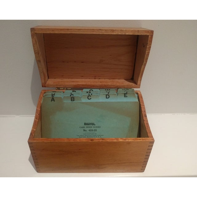 Vintage Golden Oak Wooden Index Box - Image 6 of 7