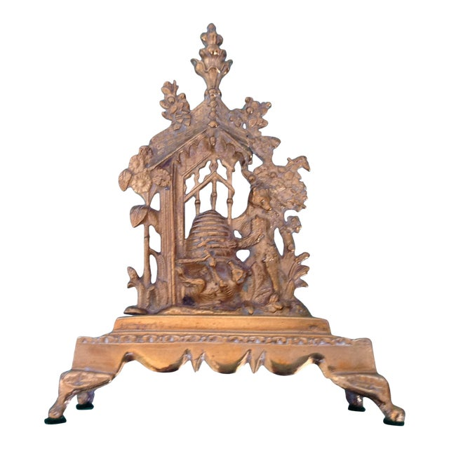 Antique English Solid Brass Mantel Decoration For Sale