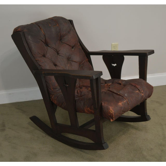 High Quality American Made Solid Oak Rocking Armchair in Old as Found Condition in Need of Restoration - Possibly Limbert