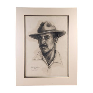 Charcoal Portrait by Anna Claire Henderson, 1955 For Sale
