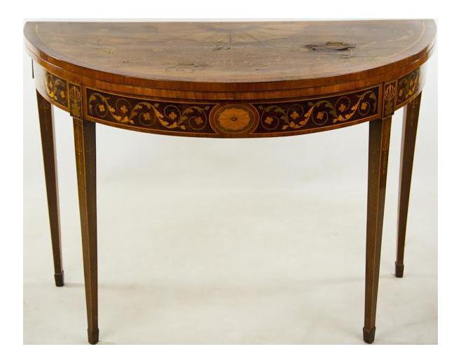 19th Century Green Felt Top Gateleg Game Table   Image 1 Of 11