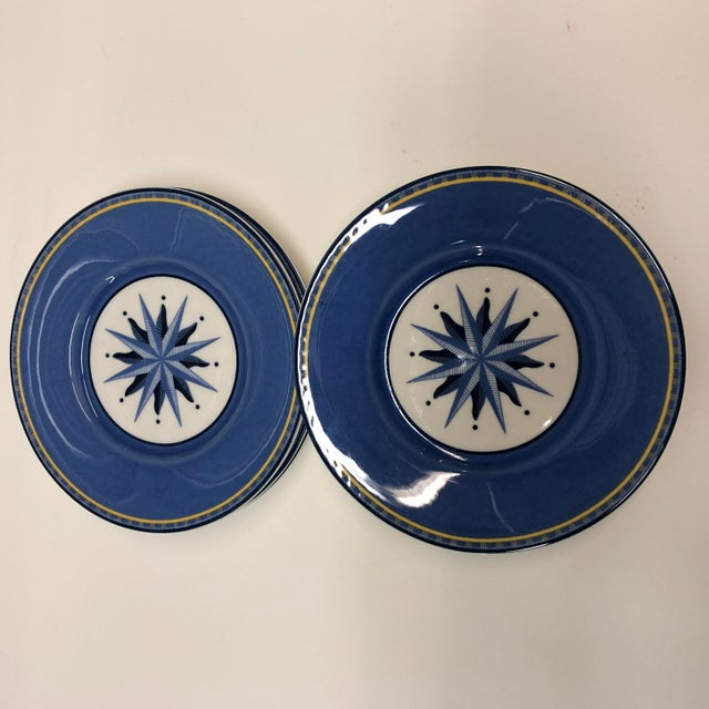 1990s Set of (4) Porcelain Dessert Blue and White Dessert Plates For Sale - Image 5 of 6