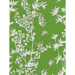 Sample, Scalamandre Jardin De Chine, Jade Wallpaper For Sale
