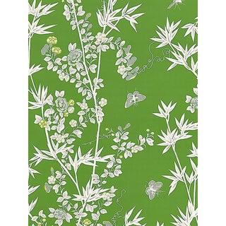 Sample, Scalamandre Jardin De Chine, Jade Wallpaper For Sale