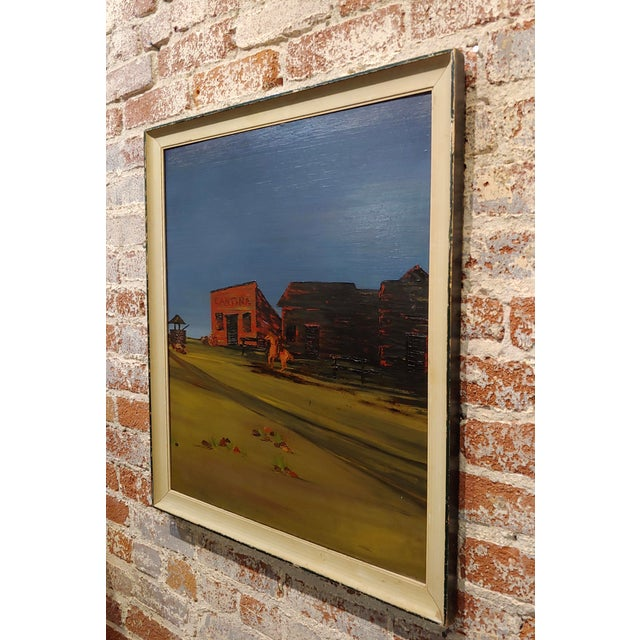 """1970s John Lewis Egenstafer """"Wild West Town"""" Oil Painting For Sale - Image 5 of 7"""