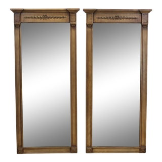 Pair of Imperial Style Mirrors, Pair of Mid-Century Mirrors, Pair of Walnut Mirrors For Sale