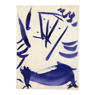 """Original Vintage Robert Cooke Abstract """"Blue Dancing Chicken"""" Painting For Sale"""
