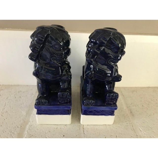 20th Century Traditional Dark Blue Foo Dogs - a Pair For Sale - Image 4 of 8