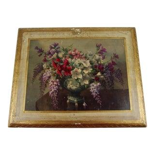 1950s Vintage Florentine Floral Wall Plaque For Sale