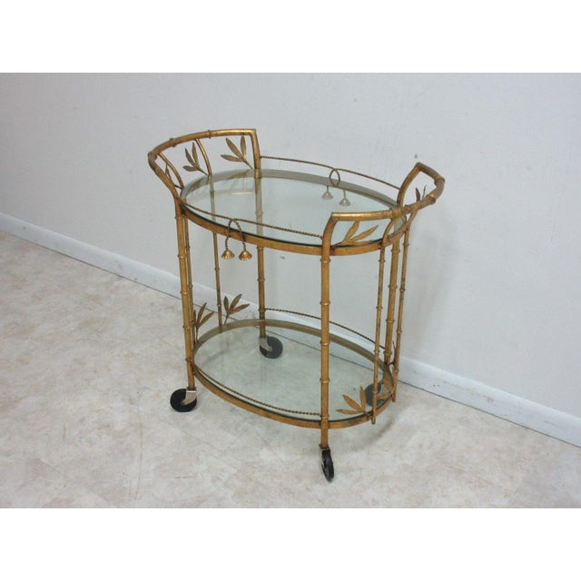 French Regency Faux Bamboo Tea Cart For Sale - Image 10 of 10