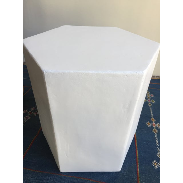 Boho Chic Plaster Hexagon Side Table For Sale - Image 3 of 9