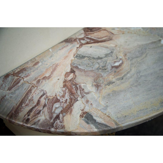 1900s Mid-Century Italian Marble and Brass Demi-Lune Console Table For Sale - Image 5 of 13