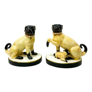 Pair of Italian Chelsea House Port Royal Pug Dogs For Sale