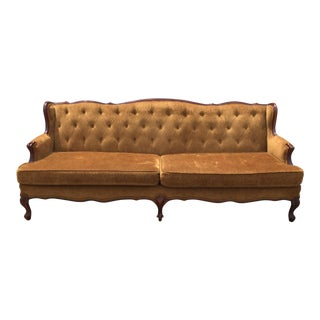 1960s Mid-Century Modern Copper Tufted Mahogany Sofa