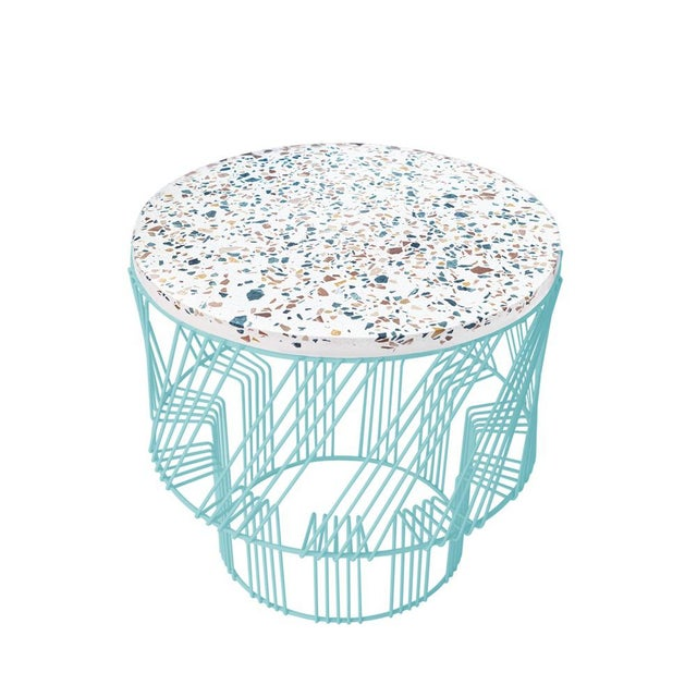 Contemporary Contemporary Indoor/Outdoor Terrazzo Table in Aqua Turquoise For Sale - Image 3 of 3