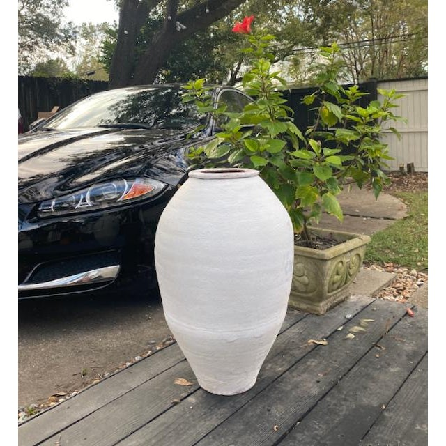 White Antique Whitewashed Terra Cotta Olive Jar For Sale - Image 8 of 9