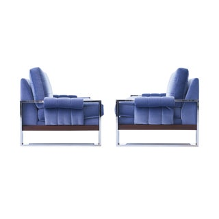 Adrian Pearsall for Craft Associates Mohair, Wood & Chrome Lounge Chair - a Pair For Sale