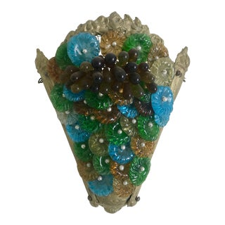 1920s Green and Blue Murano Sconce For Sale