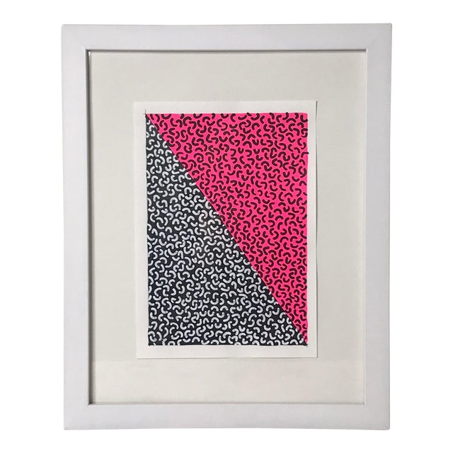 Framed Contemporary Abstract Neon Pink Painting For Sale
