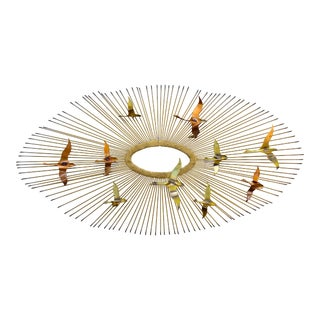 Vintage Mid-Century Modern C. Jere Oval Sunburst and Birds Wall Sculpture For Sale