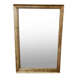 19th Century French Giltwood Mirror With Ripple Design Border For Sale