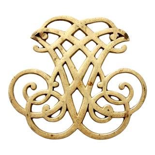 Mid-Century Brass Thomas Jefferson Monticello Cipher Trivet For Sale