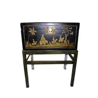 1990s Chinoiserie Chairside Box Side Table For Sale