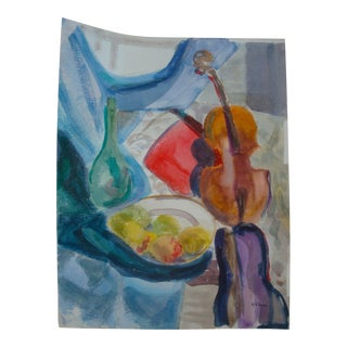 Abstract Midcentury Painting Still Life Watercolor Violin With Fruit For Sale