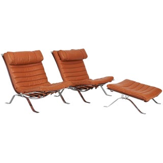 Pair of Ari Chairs With Ottoman, Sweden, 1970s For Sale