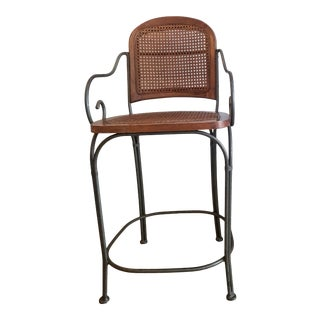 Vintage Drexel Heritage Cane and Metal Bar Stool Chair For Sale