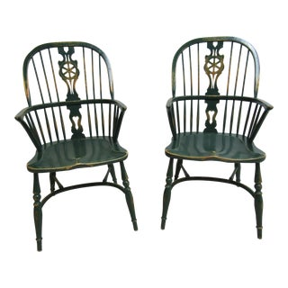 Pair of Custom English Country Saddle Seat Windsor Back Dining Room Armchairs C For Sale