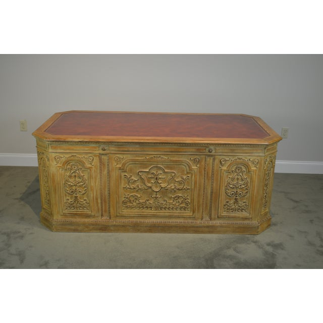 French Rococo Style Custom Quality Carved Executive Desk For Sale - Image 4 of 12