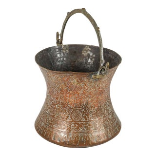 Large 19th Century Persian Copper Bucket With Handle