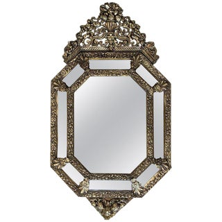 19th French Repousse Hexagonal Brass Relief Wall Mirror With Crest For Sale
