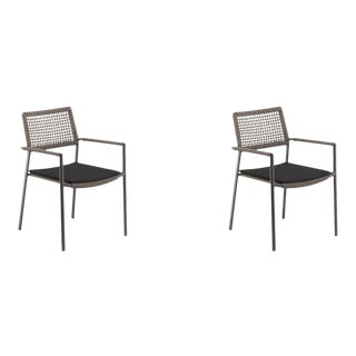 Outdoor Arm Chair, Carbon and Mocha with Pepper Pad, Set of 2 For Sale
