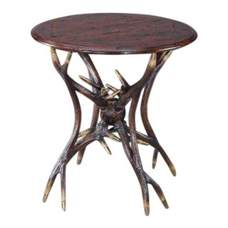 Adirondack Deer Antler Leg Table For Sale