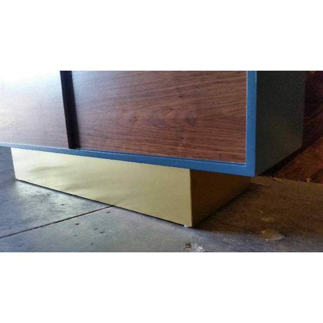 Vintage Custom Blue Lacquer Brass Credenza - Image 5 of 6