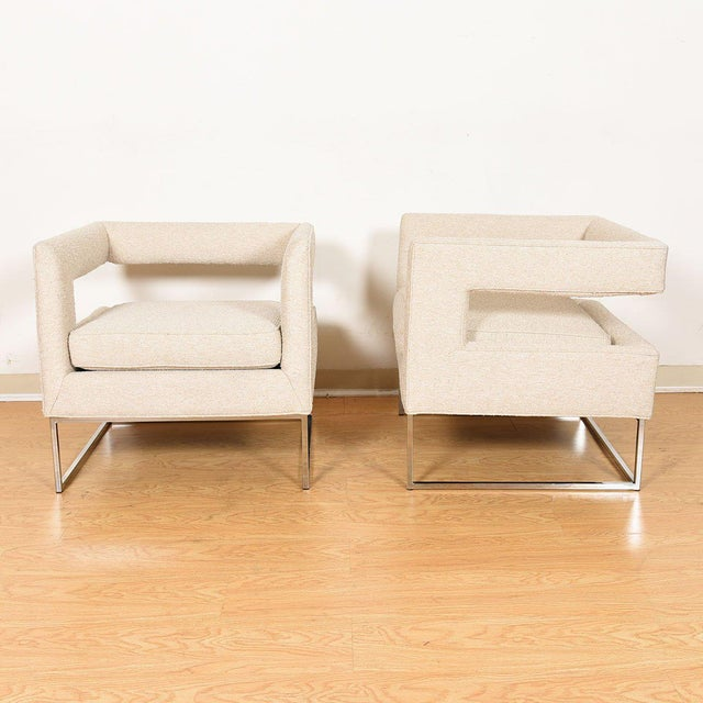 Pair Milo Baughman Open Back Club Chairs For Sale - Image 9 of 13