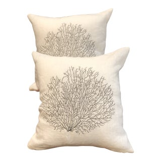 Gray Coral Design on White Linen Pillows For Sale