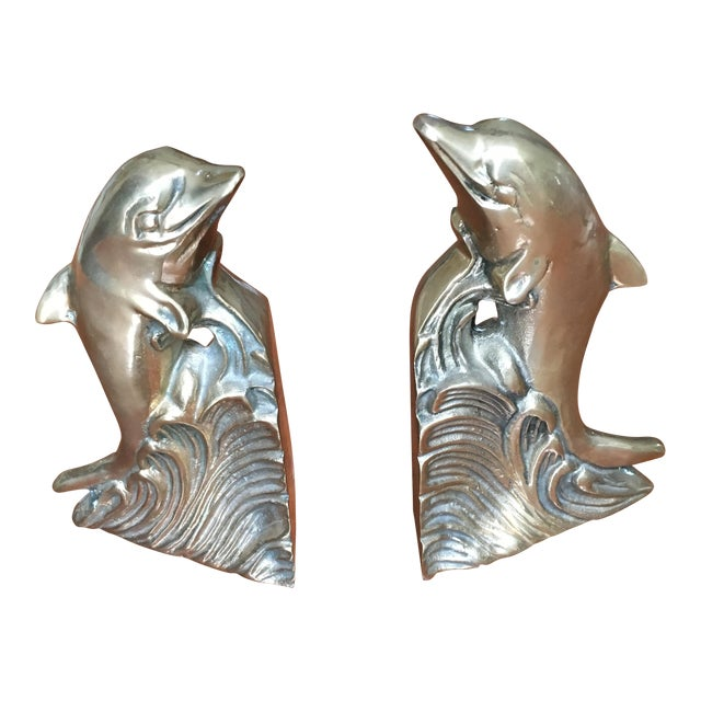 Hollywood Regency Brass Dolphin Bookends - A Pair - Image 1 of 6