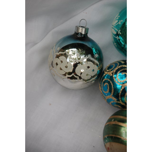 Vintage Blue and Green Glass Ornaments - Set of 11 - Image 9 of 10