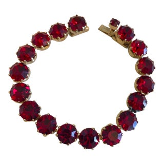 1950s Vintage Weiss Ruby Red Faceted Crystal Bracelet For Sale